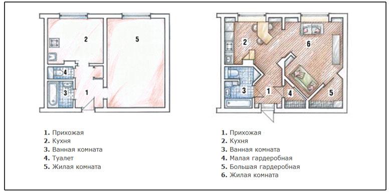 Перепланировка трехкомнатной квартиры в двухкомнатную